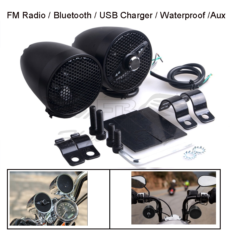Universal Waterproof ATV Motorcycle Audio FM Radio USB MP3 Stereo Speaker Systems MP3 Digital Audio Player For Harley KTM BMW free shipping tecsun d3 fm radio digital audio speaker fm 64 108 mp3 player