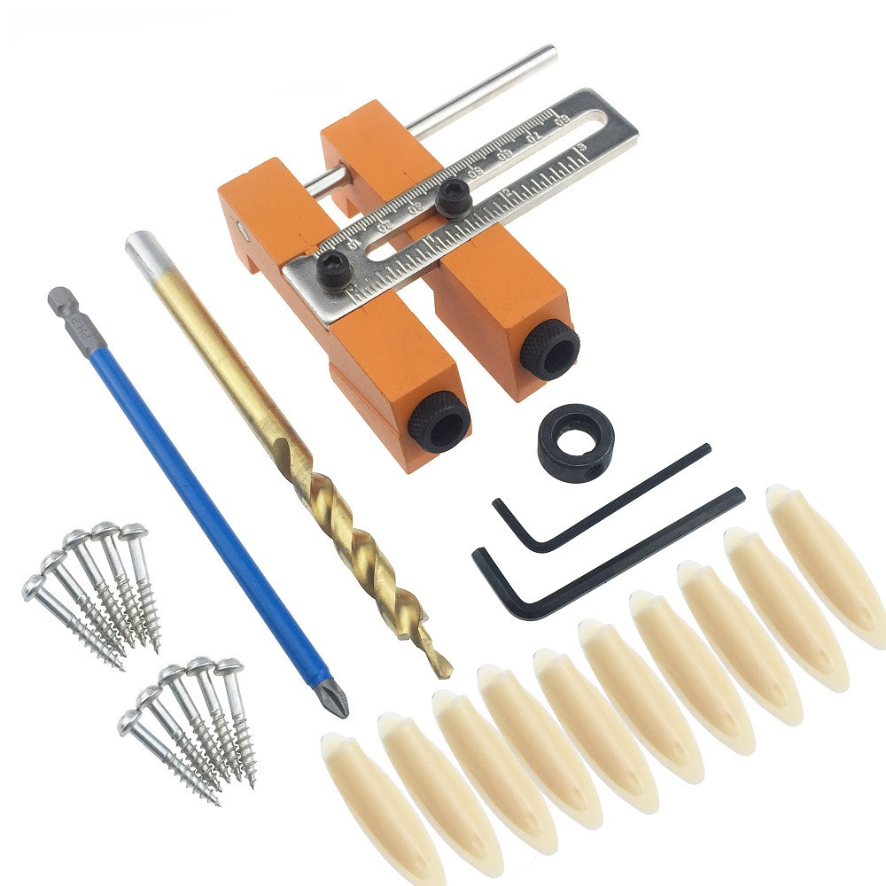 Aluminium Alloy Adjustable Oblique Hole Jig Kit for Wood Working Punch Locator with 9.5mm Puncher Woodworking Tool high strength and hardness professional tools aluminium alloy punch locator woodworking tool z35