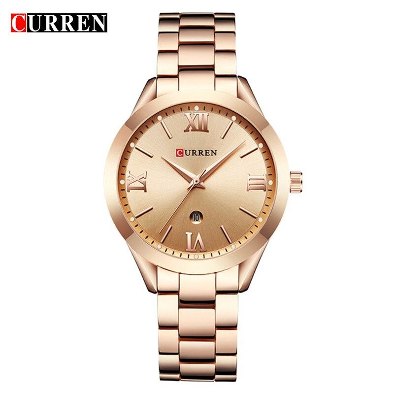 9030e807278 CURREN Moda Simples de Aço Inoxidável Analógico Quartz Relógio de Pulso  Calendário Feminino Dress Watch Mulheres