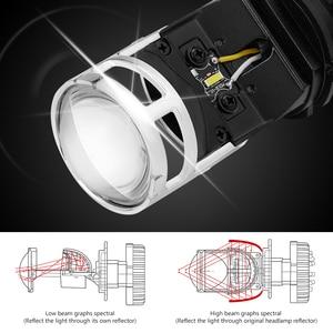 Image 3 - 2 pcs h4 led 미니 프로젝터 렌즈 변환 키트 6500 k 헤드 라이트 하이/로우 빔 10000lm 전구 자동차 12 v/24 v
