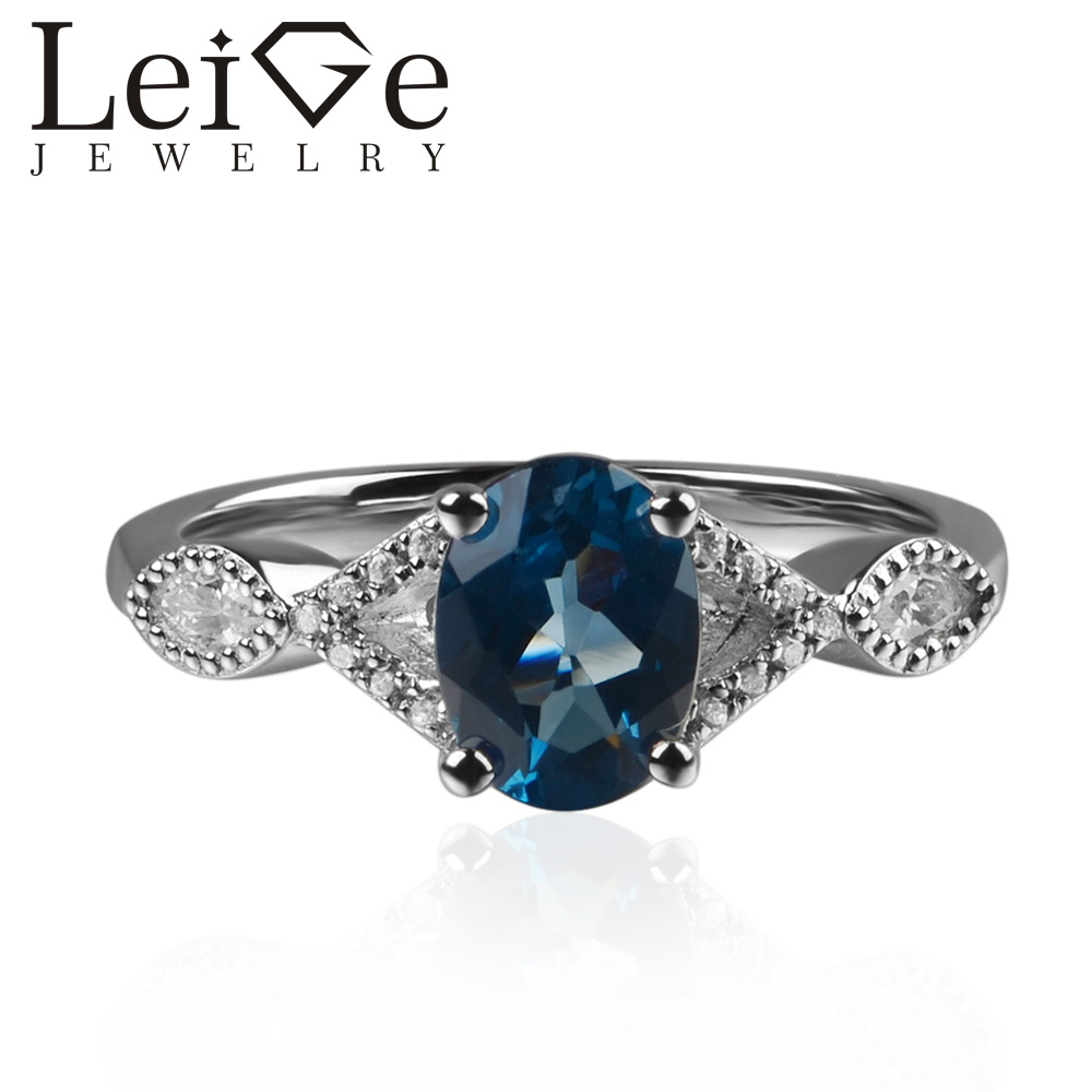 925 Silver London Blue Topaz Ring Oval Cut Prong Setting Blue Gemstone Engagement Rings for Women Romantic Gifts vera blue london
