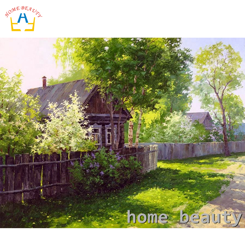 HOME BEAUTY Diy Oil Painting By Numbers Landscape Trees Decorative Canvas Painting Calligraphy Coloring By Number