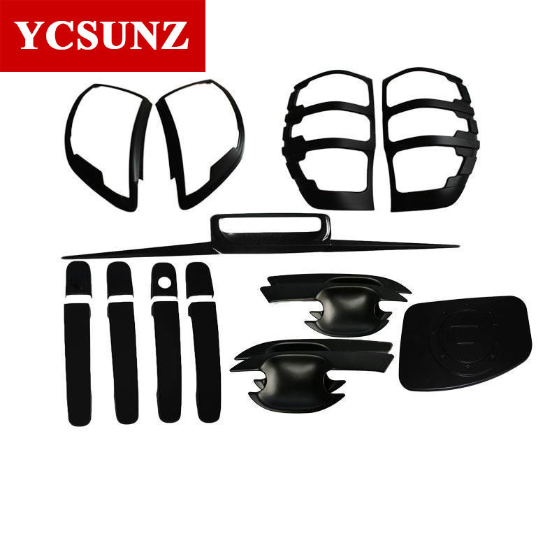 For Ford Ranger T6 Wildtrak Accessories ABS Car Styling Black Kit Full Set For Ford Ranger