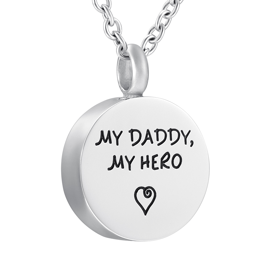 My Daddy my Hero Memorial Urn Necklace Stainless Steel Ashes Keepsake Cremation Jewelry  ...