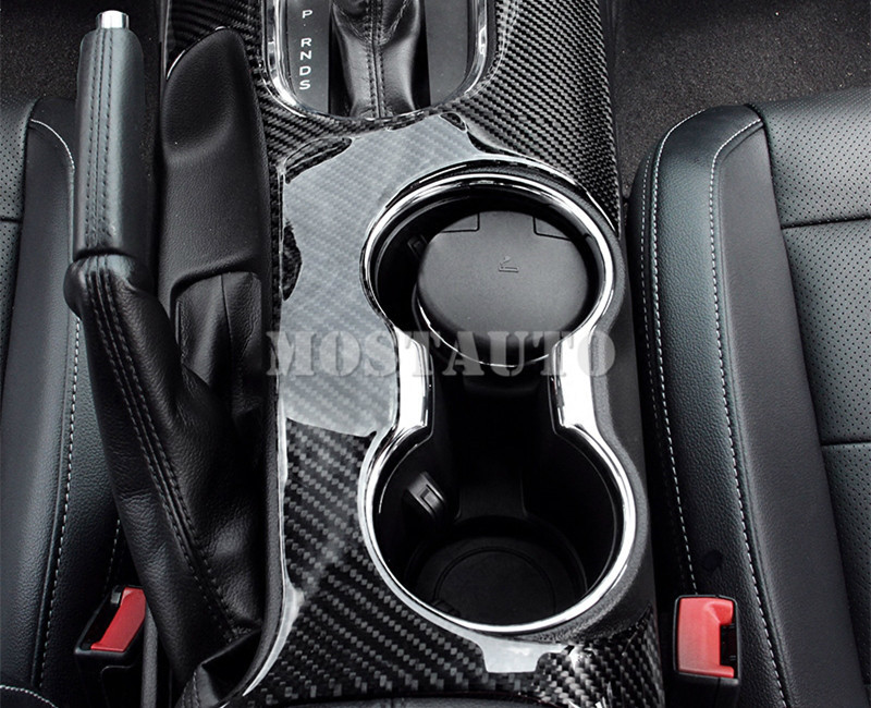 Carbon Fiber Console Gear Box Water Cup Holder Cover For Ford Mustang 2015-2019