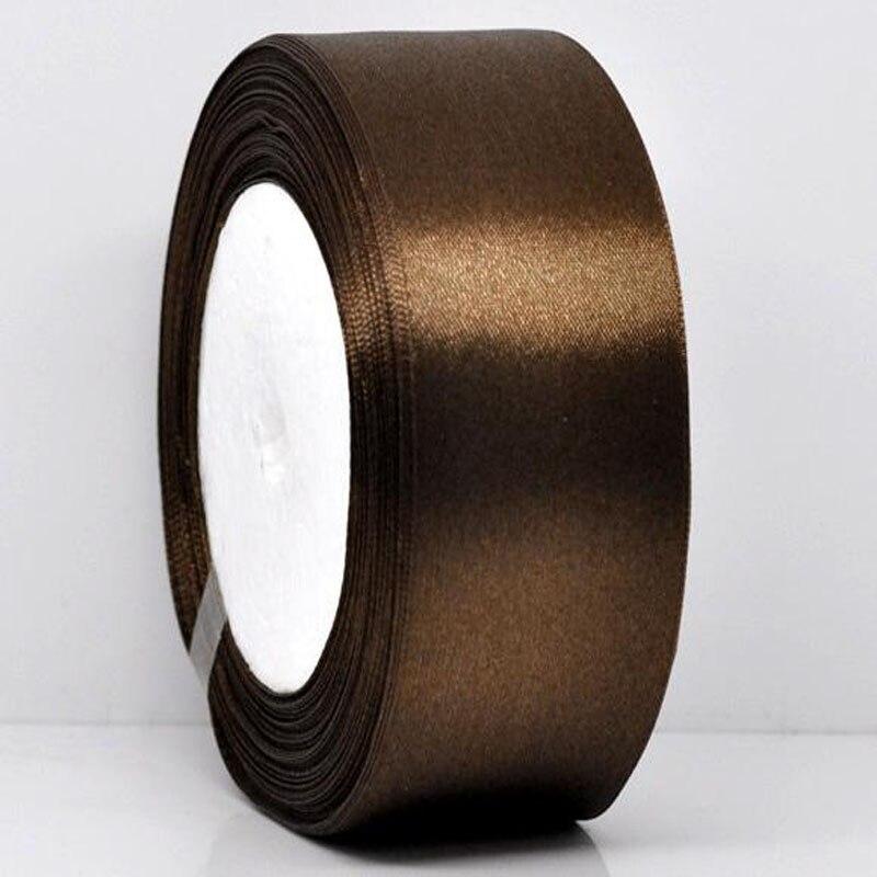 25 ярдов 1 рулон 1-1/2 «широкий Кофе атласной лентой для упаковки Craft Свадебные Аксессуары ленты лук 38 мм