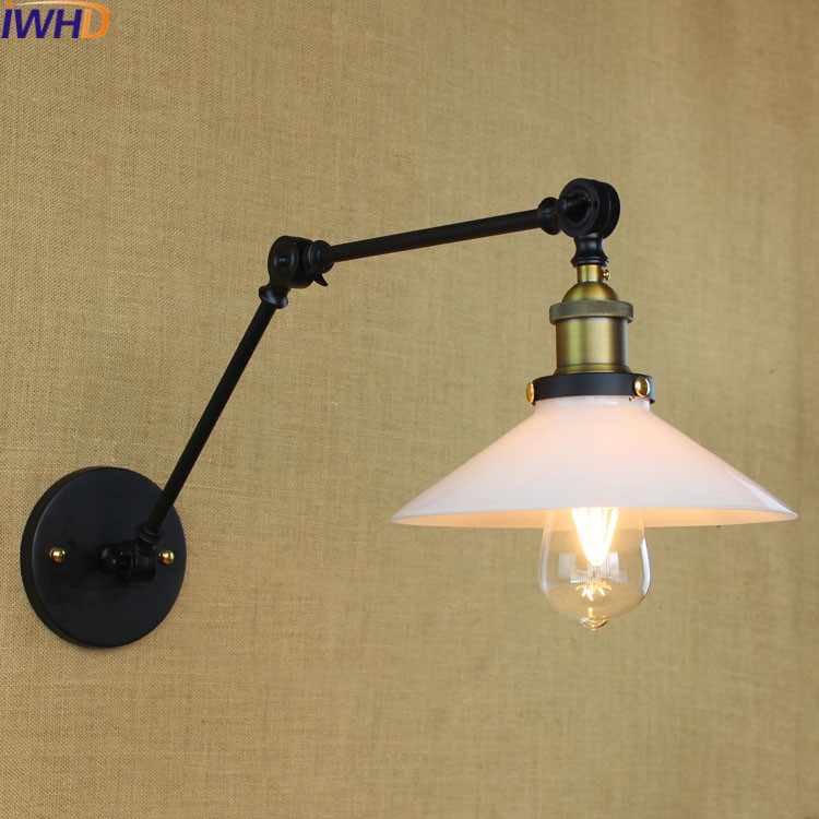 IWHD Style Loft Vintage Wall Lamp Black Retro Glass Iron Sconce Wall Light Up Down Bedroom Lighting Stairs Beside reading Light