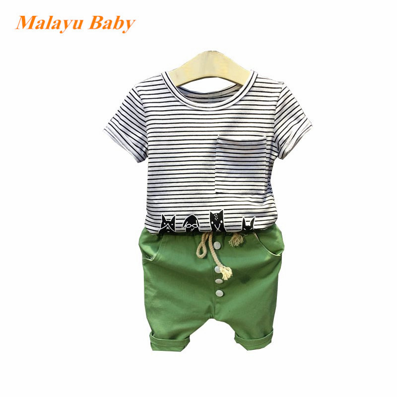 Malayu Baby 2018 New summer Kids Brand Clothing Boys Sets Short Cartoon Sleeves Stripe T-shirt+Shorts Sport 2 Pcs Suits 2-6 Y