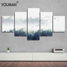 Hot Sales Nordic Decoration Forest Lanscape poster 5 piece large canvas print wall art modular painting on decoration pictures
