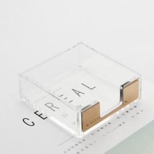 Image 3 - Многофункциональная акриловая подставка для записей, креативная акриловая прозрачная настольная коробка для хранения, Офисная подставка