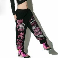 Nova Moda harem hip hop calças largas nas pernas Das Mulheres calças de dança traje rabisco impressão Calças soltas sweatpants Casuais