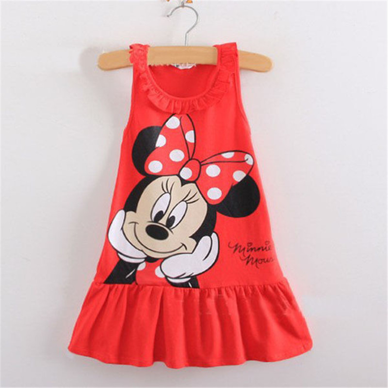 Kids Baby Girls Sleeveless Minnie Mouse Dress Sundress Party Skirt Clothes 1-7Y