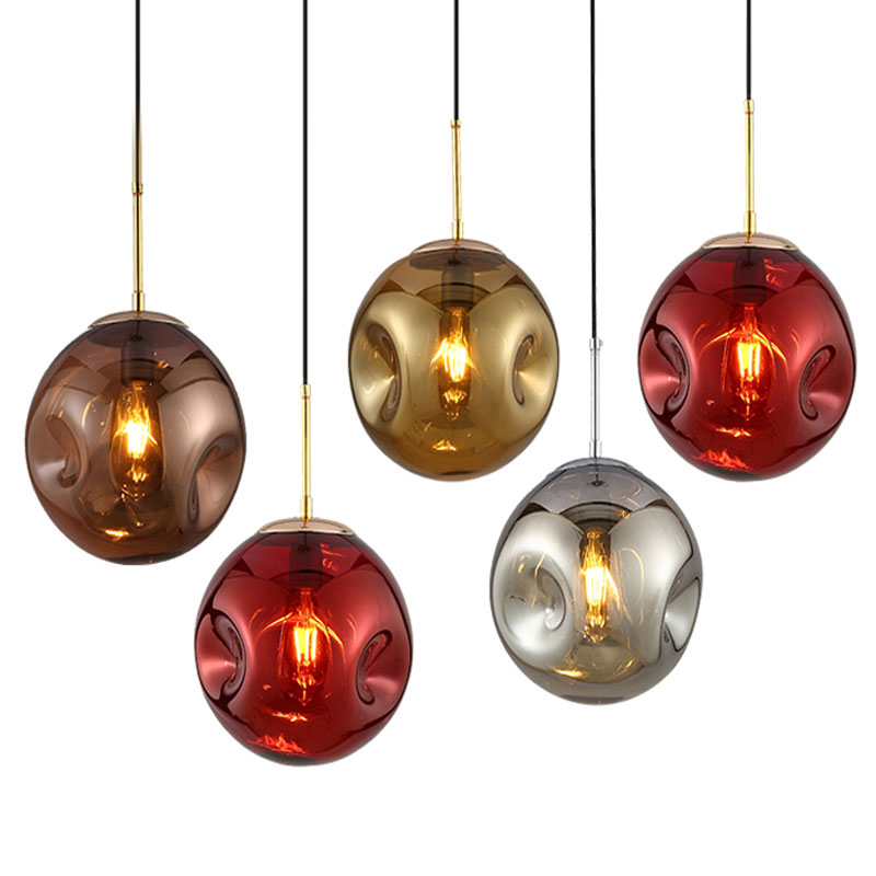 Tom Dixson Glass Concave Ball Pendant Lights Modern Simple LED Hanging Lamp for Restaurant Living room Dining room DecorationTom Dixson Glass Concave Ball Pendant Lights Modern Simple LED Hanging Lamp for Restaurant Living room Dining room Decoration