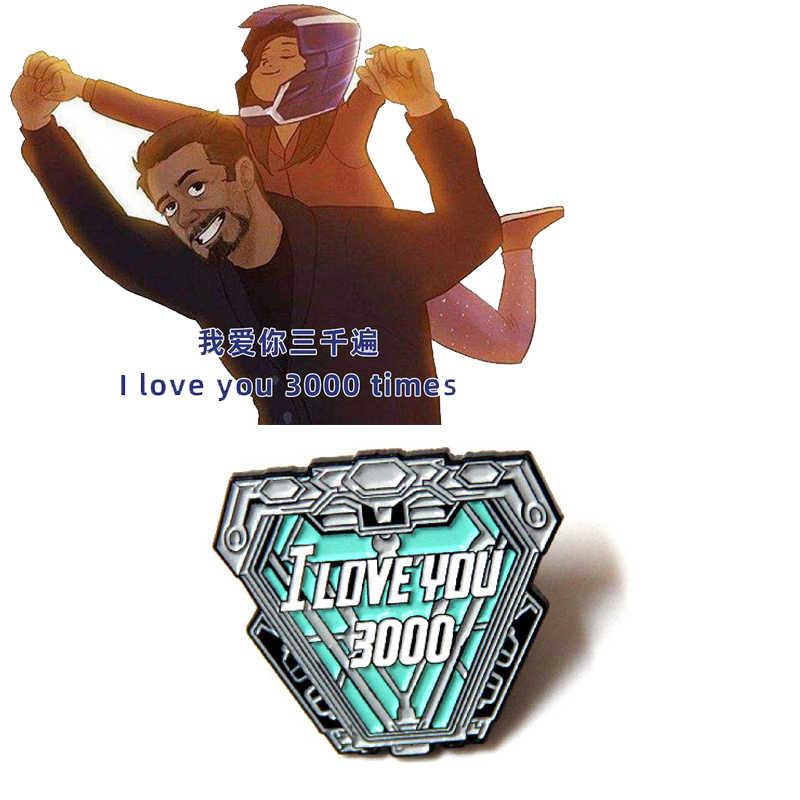 Iron Man Tony Stark Jantung Enamel Pin Broochs Alat Peraga Cosplay Paduan Unisex Aksesoris Anda 3000 Kali Lencana
