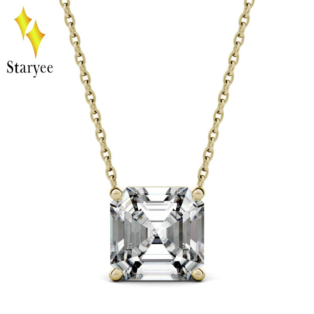 Test Positive Charles & Colvard 8mm Asscher Moissanite 18k Gold Solitaire Pendant With 18K Yellow Gold Chain 1000pcs 0402 18k 18k ohm 5