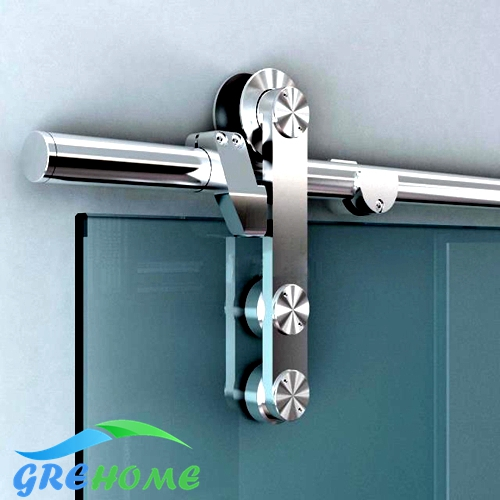 6.6FT  Brushed 304 stainless steel glass sliding barn door hardware brushed stainless steel 304 grade door number 3