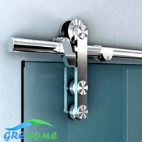 6 6FT Stainless Steel Glass Sliding Barn Door Hardware