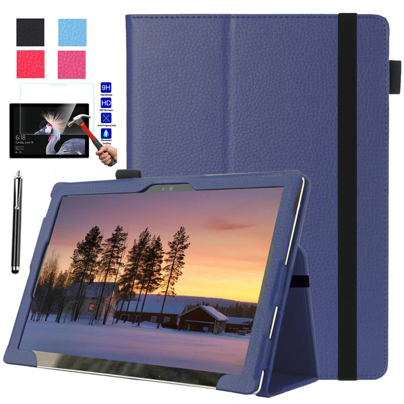 XSKEMP Litchi PU Leather Cover For Microsoft Surface Pro 6 12.3 Tablet Slim Protective Shell Case + Tempered Glass W/ Pen Stylus