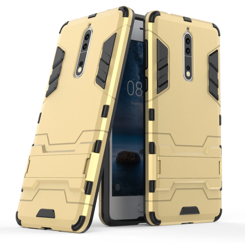 competitive price 5efd3 43b56 US $2.78 10% OFF|For Nokia 8 Case Iron Man Armor 2in1 Heavy Duty Hybrid  Rugged Kickstand Phone Cover Case for Nokia 8 Anti Shock Kickstand Cover-in  ...