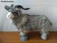 simulation gray sheep hard model polyethylene&real furs goat prop large 34x28cm ,home decoration gift s1681