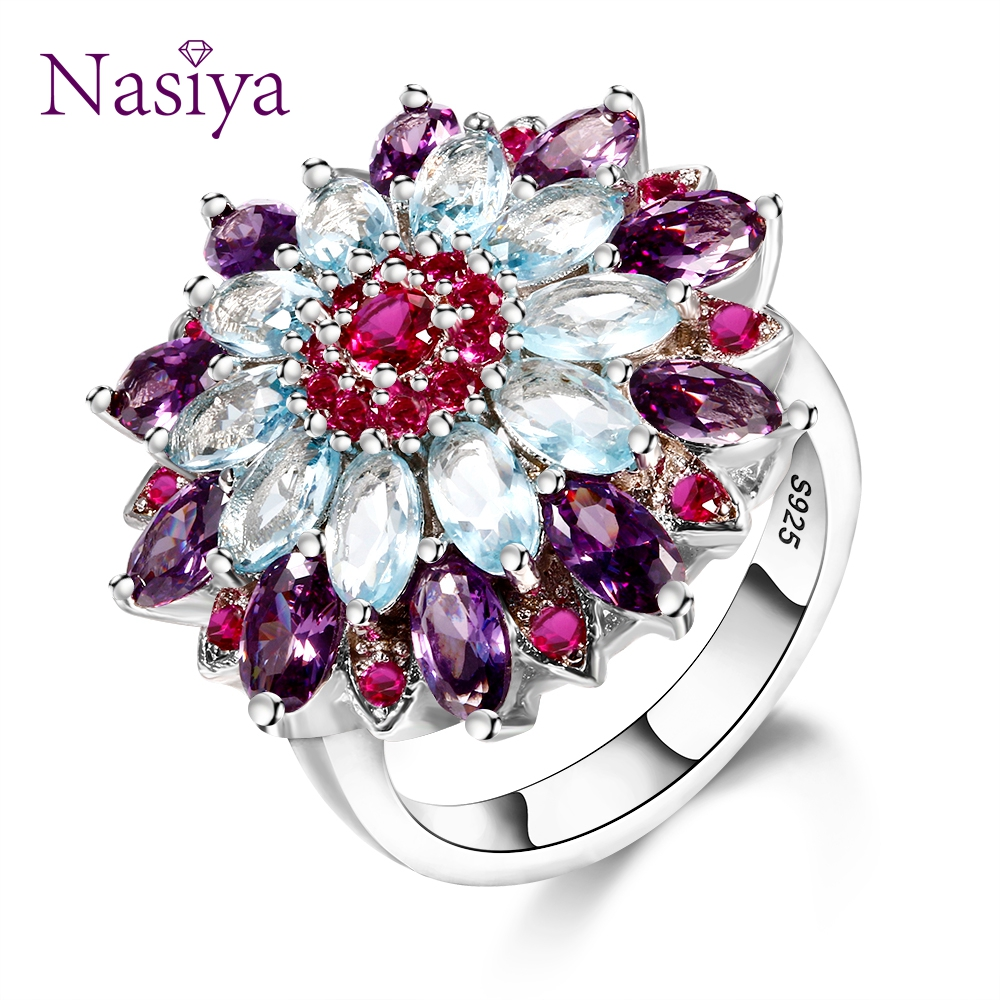 Nasiya Multicolor Gemstone Flower Shape Wedding Ring New Design Silver 925 Jewelry Rings For Women Top Quality Wholesale Jewelry