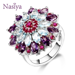 Nasiya Multicolor Gemstone Flower Shape Wedding Ring New Design Silver 925 Jewelry Rings For Women Top Quality Wholesale Jewelry(China)