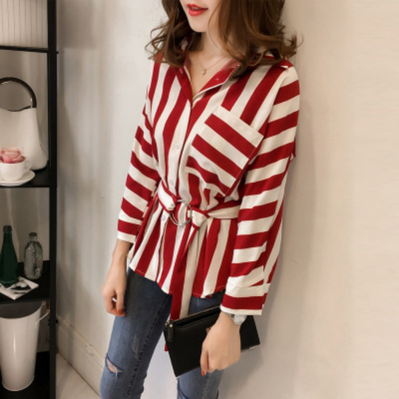 Fashion Summer Women Long Sleeve Turn Down Collar Striped   Blouse   With Belt Casual Loose OL Blusa Elegant   Blouse     Shirts