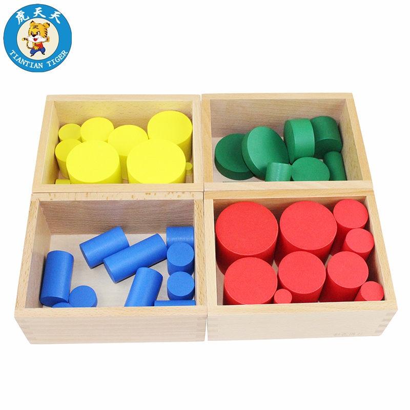Montessori bébé jouets quatre couleurs cylindre ensemble jouets sensoriels éducation précoce aides pédagogiques