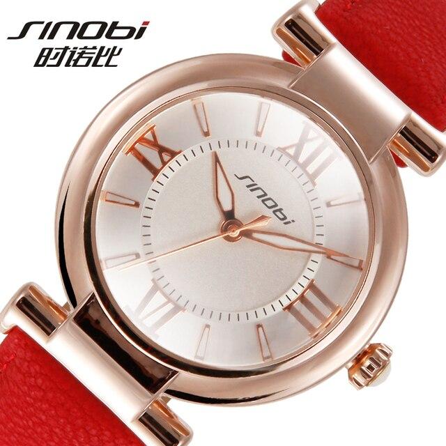 SINOBI Роман Количество Браслет Часы Для женщин Мода часы 2016 Повседневное Кожа Роскошные Кварцевые часы Женские Наручные часы Montre Femme