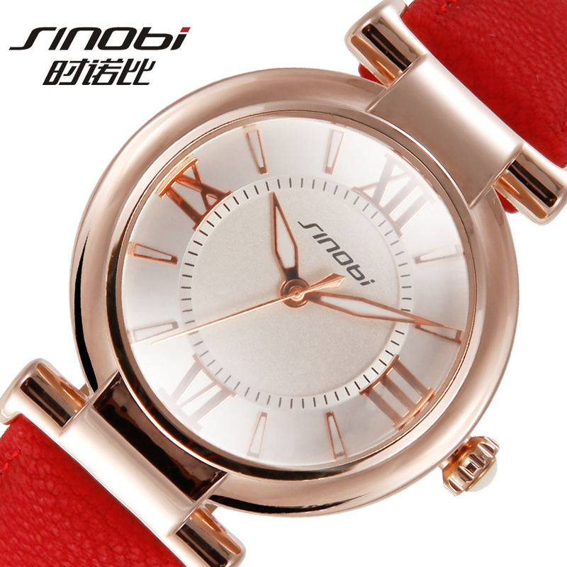SINOBI Roman Number Bracelet Watches Women Fashion Watch 2016 Casual Leather Luxury Quartz Watch Ladies Wristwatch