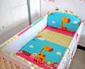 Promotion! 5PCS Cotton Baby Bedding Set baby crib bedding sets for boys cartoon animal crib set Bed Set,include(4bumpers+sheet)