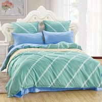 LILIYA 4 6Pieces Romantic Bedding Set Soft Pillowcase Sheet With Elastic Luxury Duvet Cover M