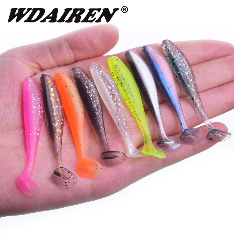 10Pcs/lot 50mm 1.2g Easy Shiner Fishing Lures Artificial Silicone Bait Wobblers Soft Lures Shad Carp Baits Fishing Tackle WD-590