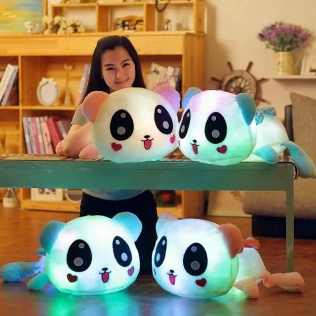 El nuevo encanto 35 cm Almohadilla Colorida del Led Que Brilla Intensamente Panda de Felpa Muñeca Luminosa Regalo de Cumpleaños Juguetes para Niñas WJ448