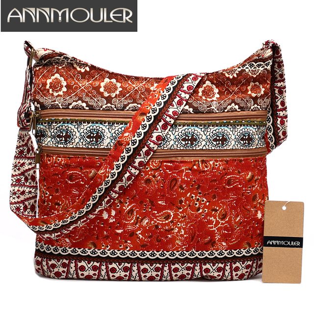 Women Shoulder Bag Bohemian Style Hippie Hobo Bag Double Zipper Bag Sling Crossbody Messenger Bag