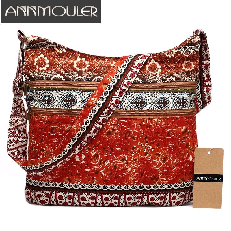 Annmouler Fashion Women Shoulder Bag Bohemian Style Hippie Hobo Bag Double Zipper Bag Sling Crossbody Messenger Bag Large