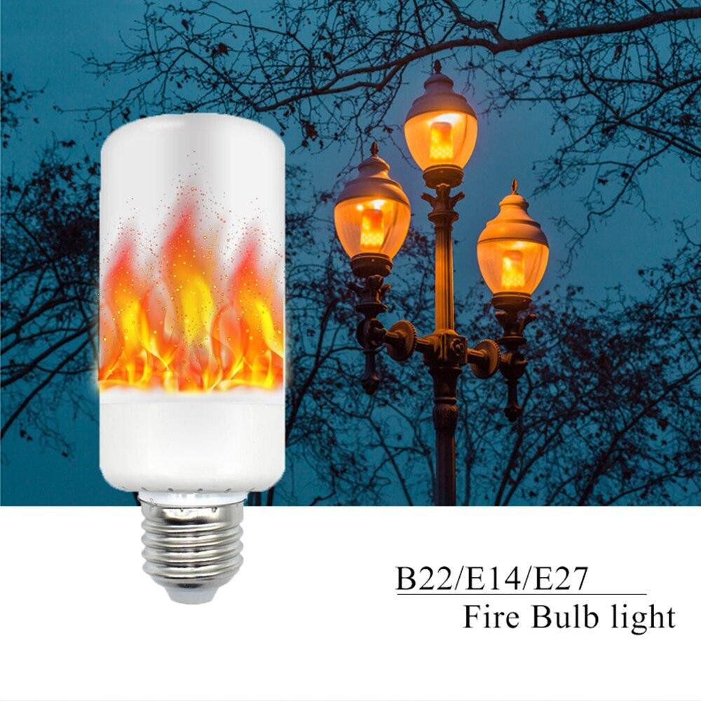 New Arrival E27 E14 B22 2835SMD LED lamp Flame Effect Fire Light Bulbs 5W Flickering Emulation flame Lights AC85-265V