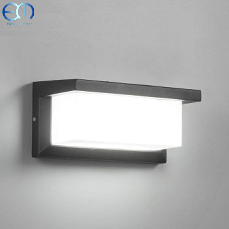 Işıklar ve Aydınlatma'ten LED İç Mekan Duvar Lambaları'de Dış mekan duvar ışıkları LED Aplik Kare Metal Bölme Işıkları Dış Su Geçirmez Aydınlatma Armatürü RWLC0022 title=