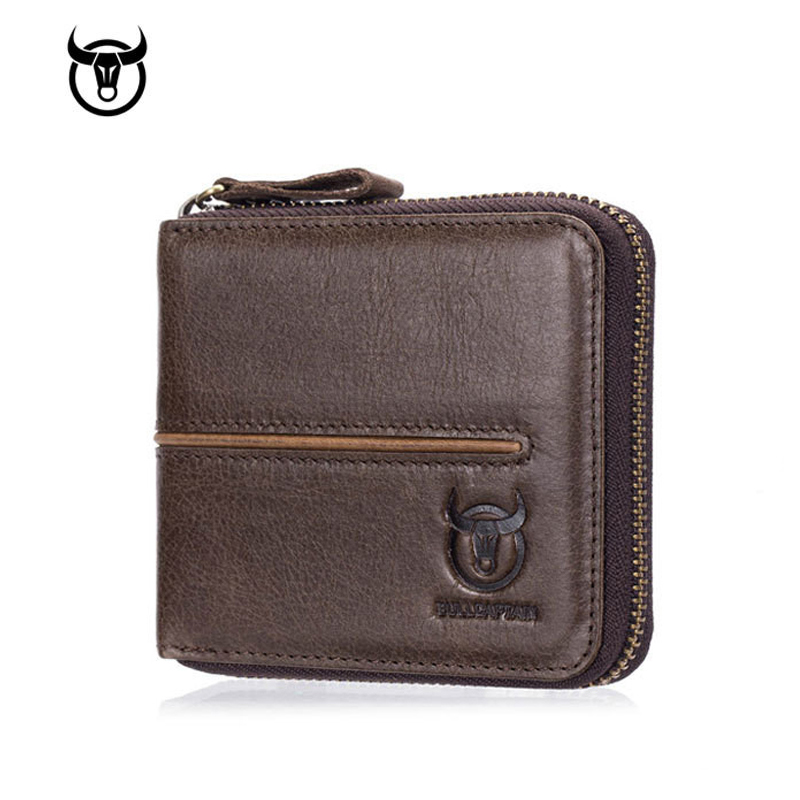 Mens Genuine Leather Wallet Business ID Card Holder Billfold Zipper Purse Wallet Clutch Brand Coin Holder Male Wallet