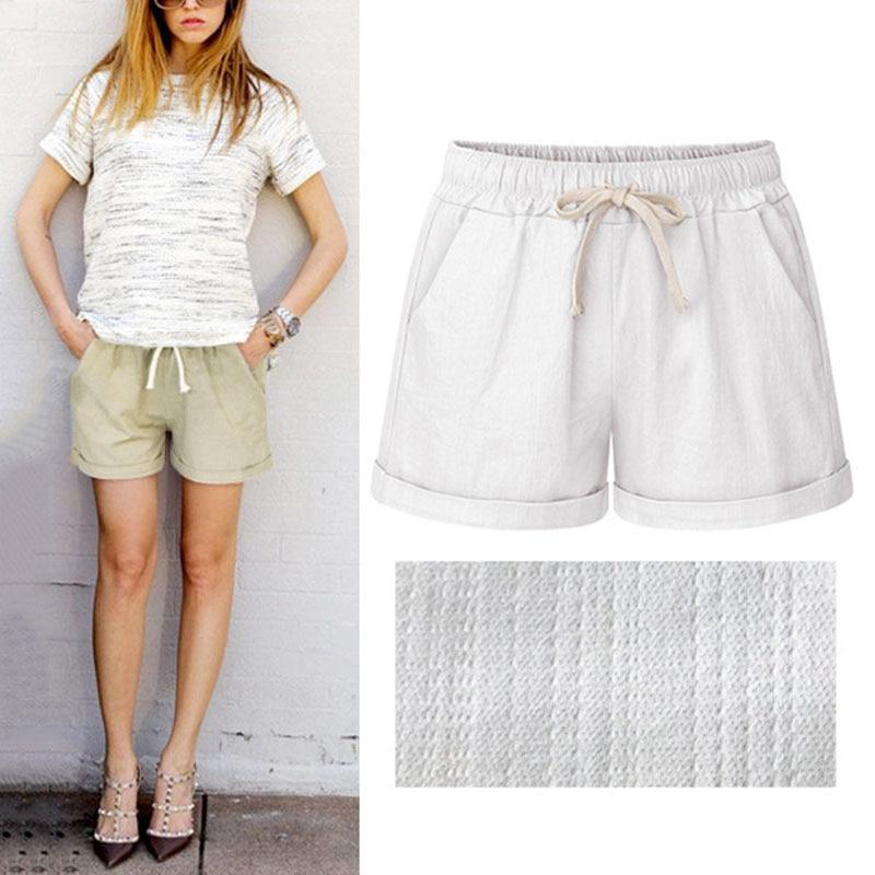 2019 Hot Sale Summer Women Wide Leg Shorts Cotton High Waist Drawstring Pockets Girl Casual Shorts Plus Size M-6XL CXZ