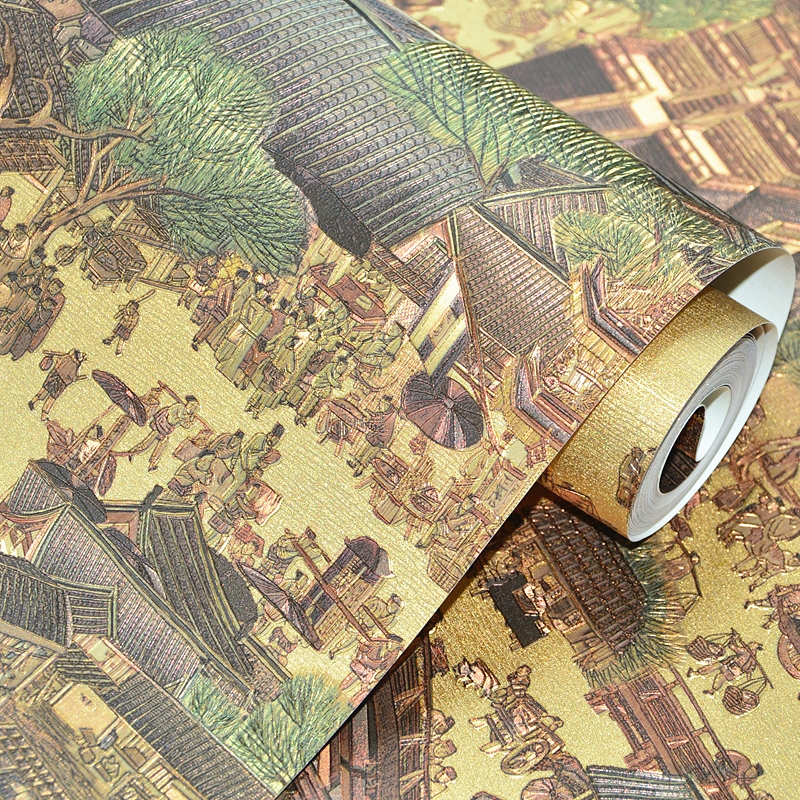 beibehang New gold foil reflective wallpaper Chinese classical wallpaper living room hotel partition porch background wallpaper free shipping chinese ink classical retro wallpaper mural living room tv room wallpaper