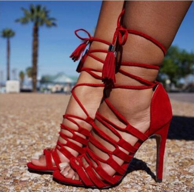 2017 Summer New Fashion Women Cross-tied Lace-up Gladiator Sandals Red  Suede High Heel Sandals