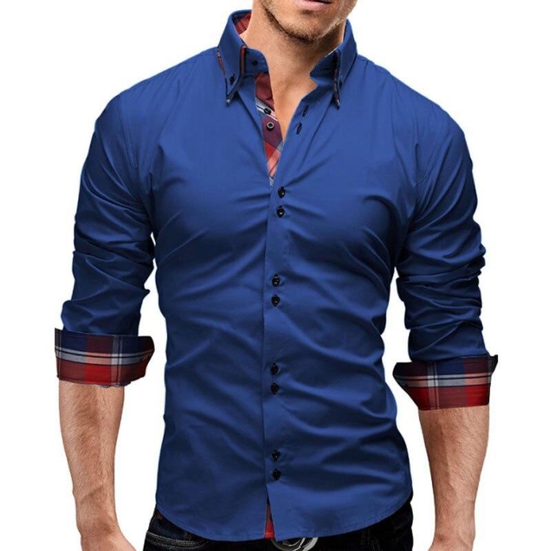 Hemden Diskret Marke 2018 Mode Männlichen Shirt Mit Langen Ärmeln Tops Doppelkragen Business Shirt Herren Hemden Slim Männer Hemd 3xl Hemden