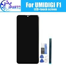 Tela lcd + touchscreen para troca, painel de vidro digitalizador original e testado para umidigi f1, 6.3 polegadas