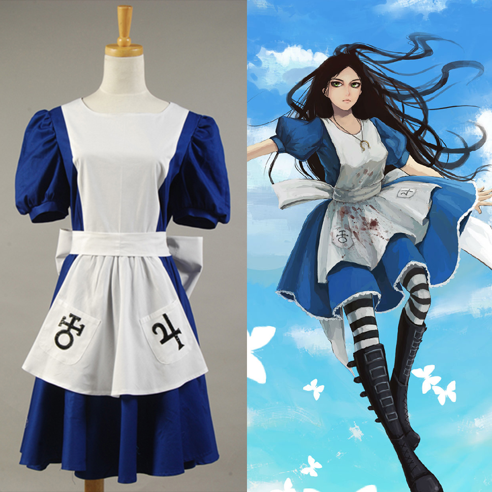 American Mcgee Alice Cosplay Costume Lady Blue Maid Dress Anime Maid Outfit Women Halloween Party Costume Full Set Costume
