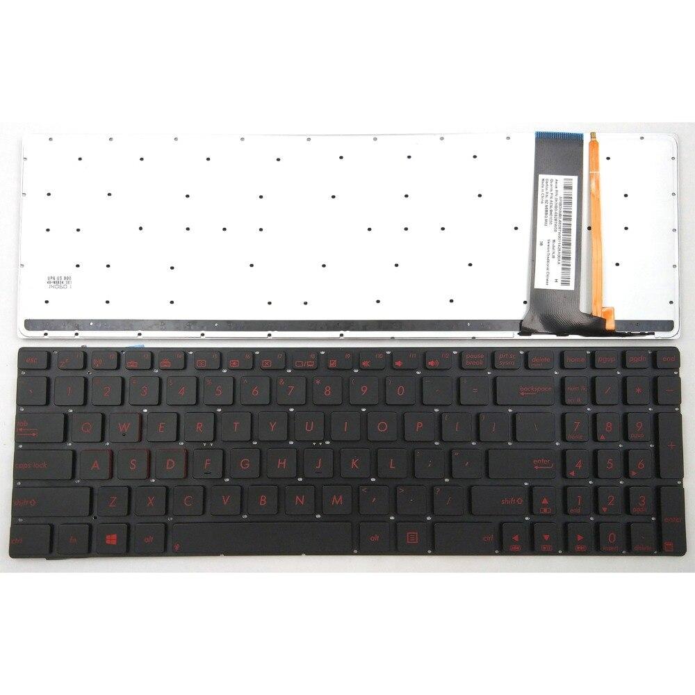 NEW for ASUS N750JK N750JV R750JK R750JV Keyboard Backlit UK Silver NO Frame