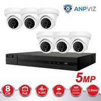 6CH Video Cameras System 5MP Turret IP Camera Outdoor Hikvision OEM 8CH 4K POE NVR CCTV Kit Email Alarm Night Vision