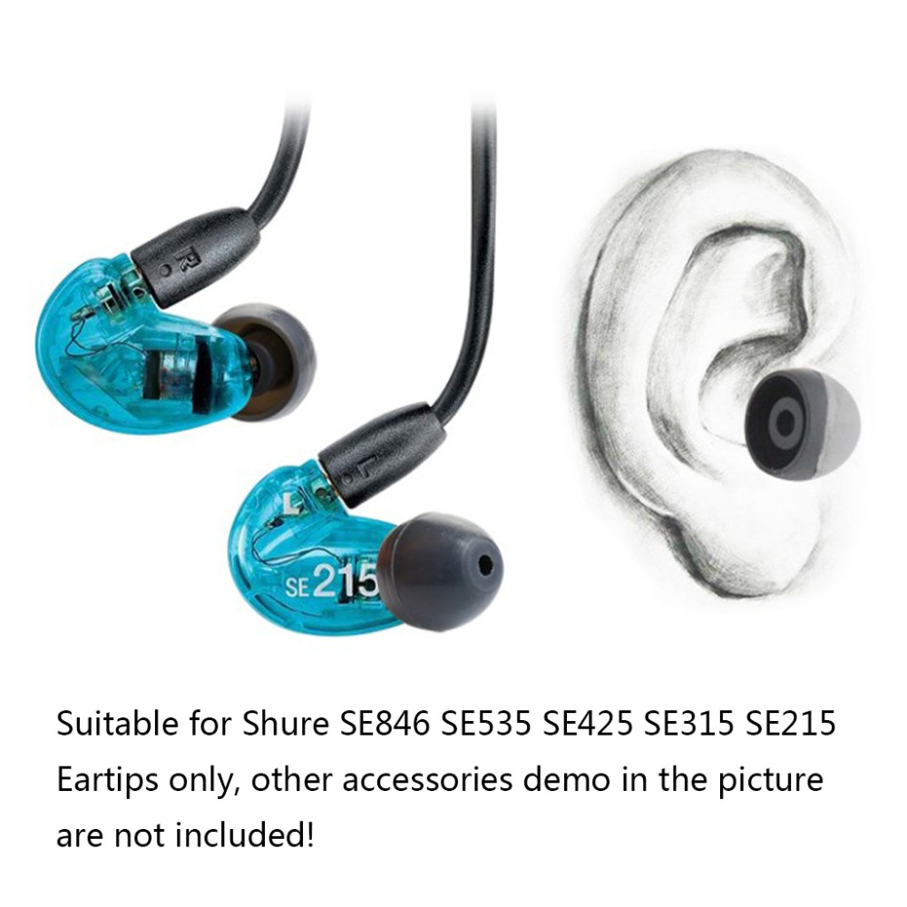 Earphone Tips Soft Silicone Caps Earbuds Cover Replacement for Shure SE846 SE535 SE425 SE315 SE215 Headphone Accessories