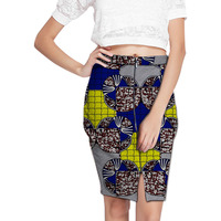Elegant Front Kick Pleat Womens African Tight Buttocks Skirt Colorful African Print Element Dashiki Clothing Tailor