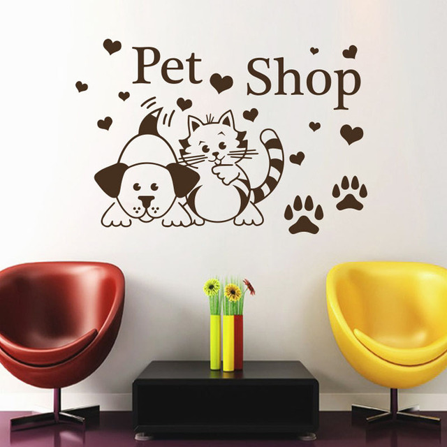 pet shop wall stickers cats dogs paw prints hearts salon wall decals